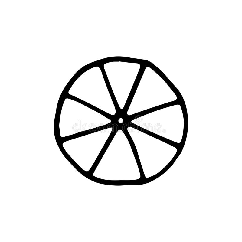 Wheel icon. sketch isolated object. royalty free illustration