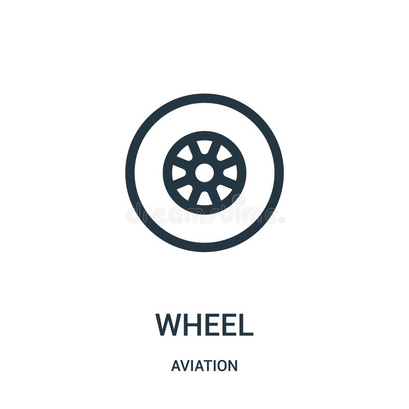 Wheel icon vector from aviation collection. Thin line wheel outline icon vector illustration. Linear symbol for use on web and. Mobile apps, logo, print media stock illustration
