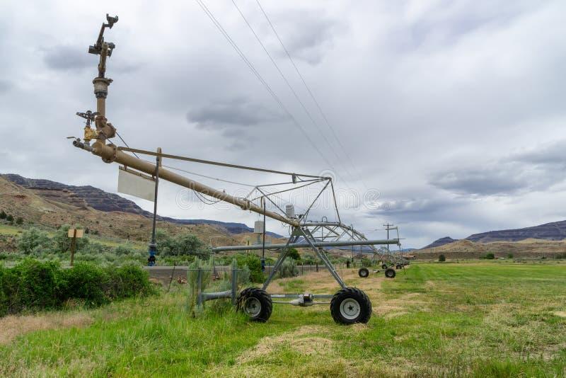 Wheel line irrigators machine royalty free stock image