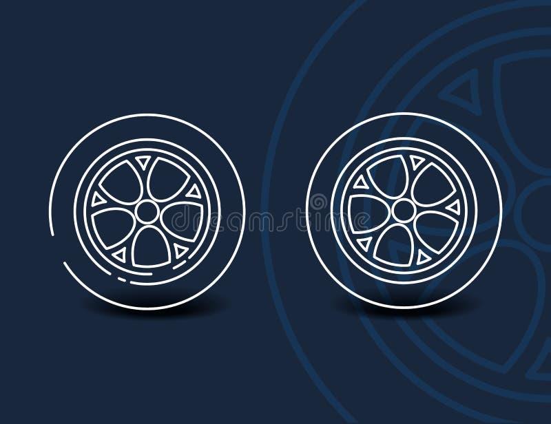Wheel linear icon - minimal car tyre symbol or sign vector illustration