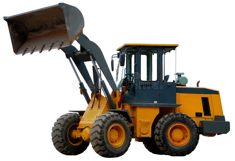 Wheel loader with bucket over white royalty free stock photo