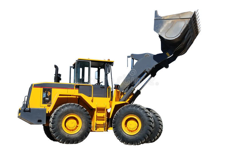 Wheel loader buldozer over white stock photos