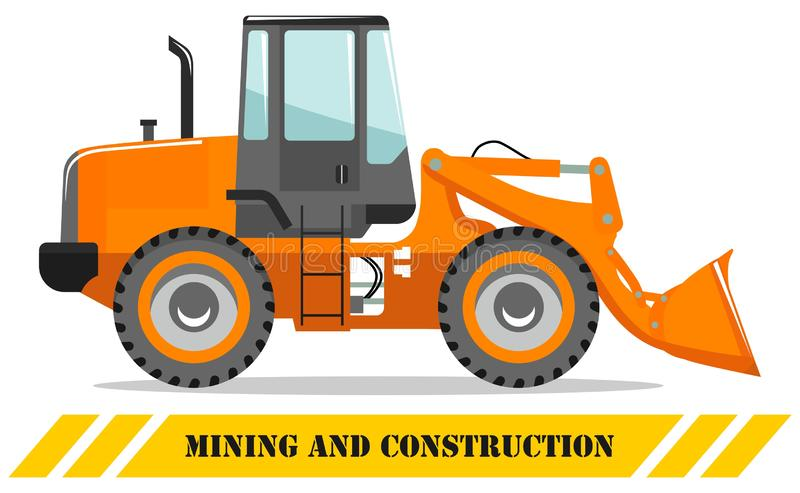 Wheel loader. Detailed illustration of heavy mining machine and construction equipment. Vector illustration. Detailed illustration of wheel loader. Heavy mining royalty free illustration