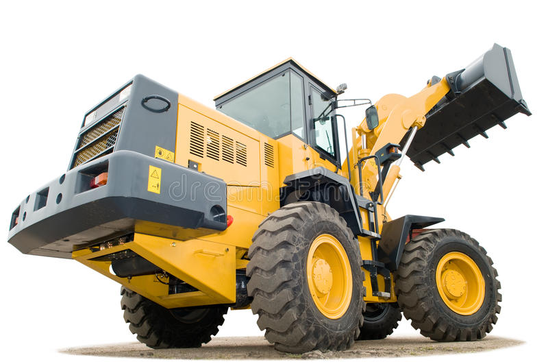 Wheel loader excavator isolated royalty free stock image
