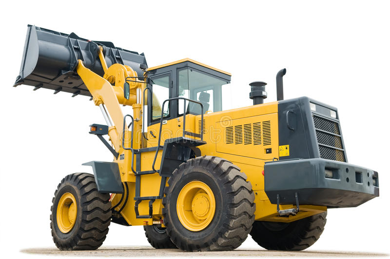 Wheel loader excavator on white background stock photo