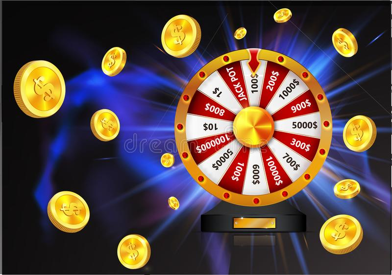 Wheel of luck with gold coins object, isolated on dark glowing background royalty free illustration