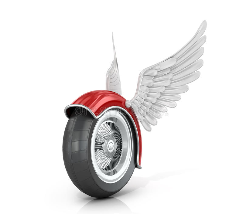 Wheel Motorcycle With Wings Stock Illustration - Illustration of ...