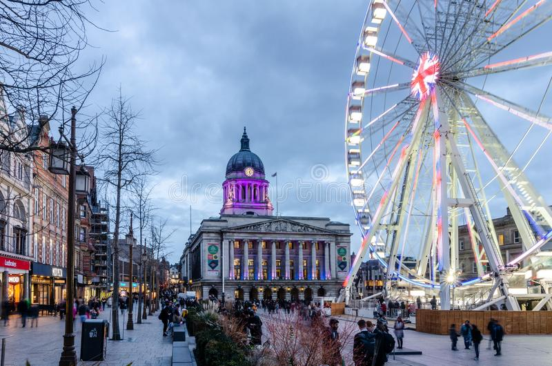 Wheel of Nottingham in Old Market Square stock photo