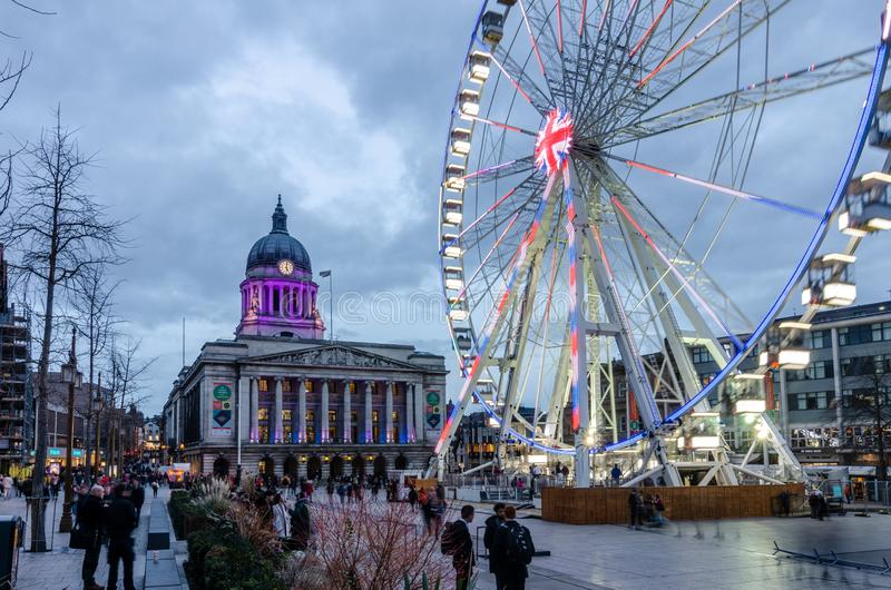 Wheel of Nottingham in Old Market Square royalty free stock photo