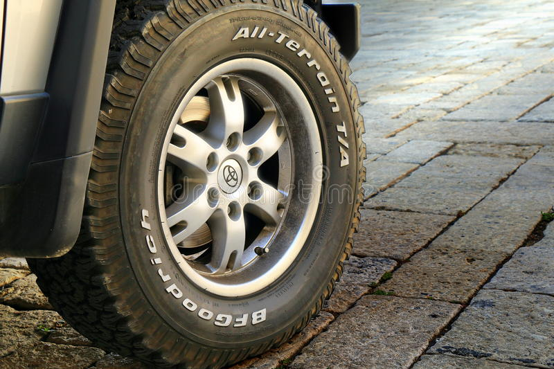 Wheel of the off-road car close-up royalty free stock photography