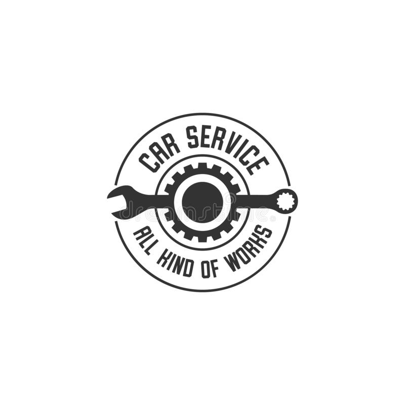 Wheel repair service. Tire storage company sign. Tire logo.Wheel icon. Car repair service, Auto, Burning tires logo. Tools icon royalty free illustration