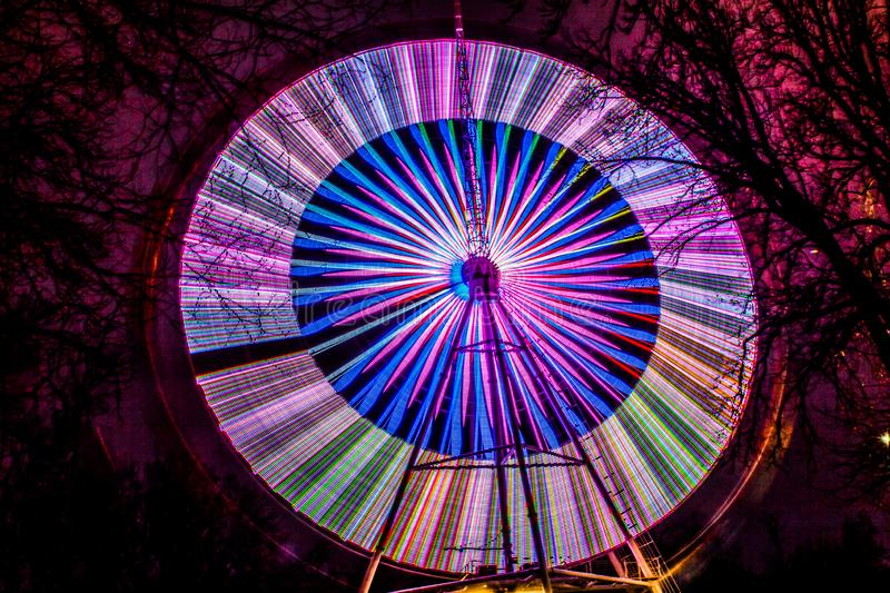 Wheel and review at dark night on excerpt. Wheel and review at night royalty free stock photography