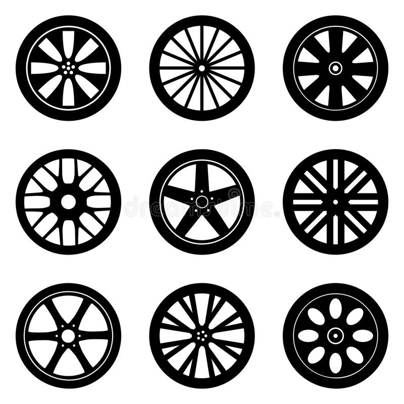 Wheel Rims Vector Set. Flat illustrations pack for wheel rims royalty free illustration