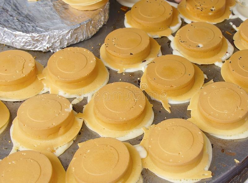 Wheel shaped cakes closeup in Taiwan. The snack of wheel shaped cakes closeup in Taiwan stock photo