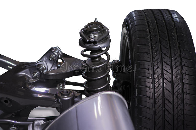 Wheel and shock absorber. Isolated over white background royalty free stock photography