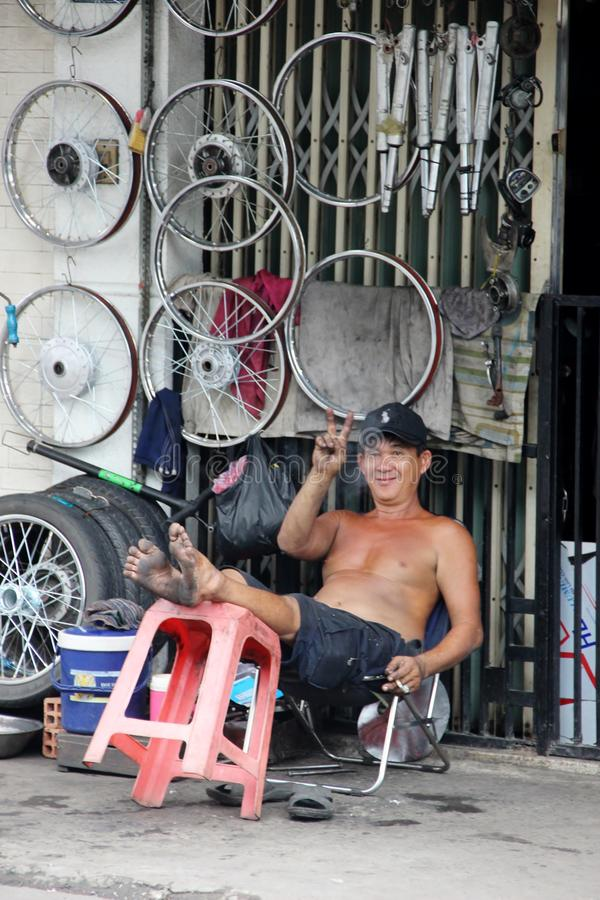 Wheel shop, Ho Chi Minh City, Vietnam stock photography