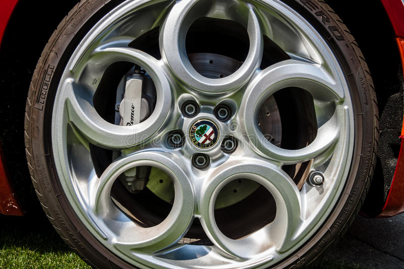 Wheel of sports car Alfa Romeo 4C (Type 960), since 2014 royalty free stock photo