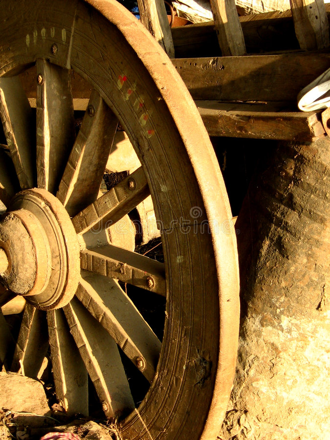 Wheel of Time. A stuck wheel of an old bullock cart in India royalty free stock image