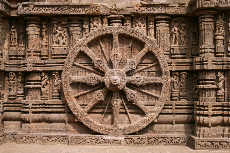 Wheel of Time. Architectural detail of the temple of the sun god, in Конарак India royalty free stock photography