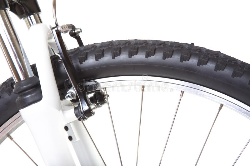 Wheel with tire of mountain bike, isolated. On white background, close up stock image