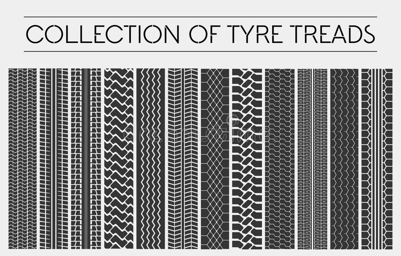 Wheel or tire, tyre treads or car tracks royalty free illustration