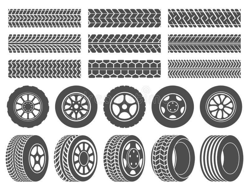 Wheel tires. Car tire tread tracks, motorcycle racing wheels icons and dirty tires track vector illustration set. Wheel tires. Car tire tread tracks, motorcycle royalty free illustration