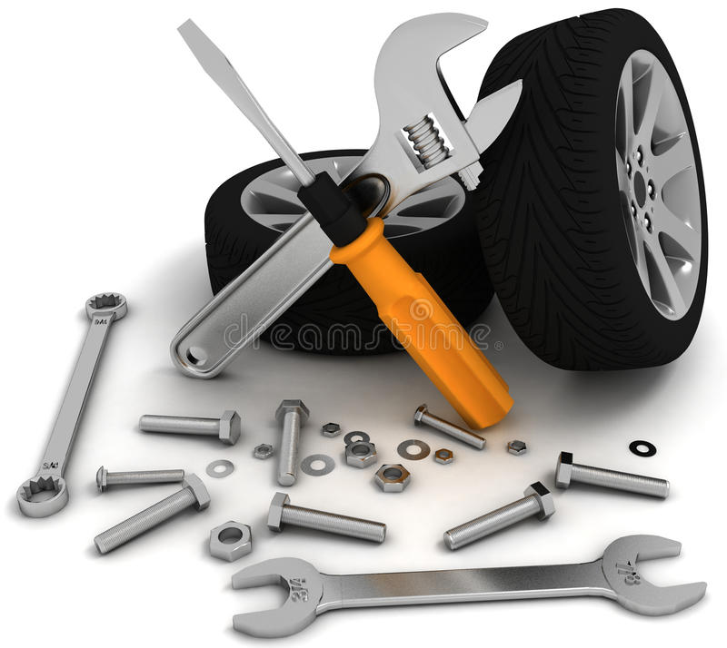 Wheel and Tools vector illustration