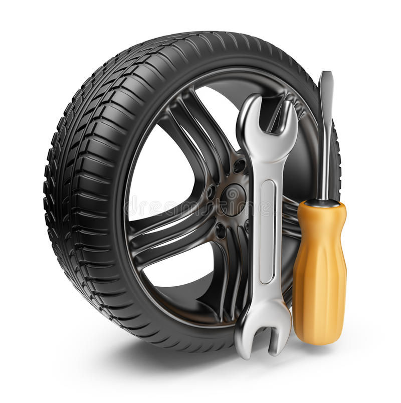 Wheel and tools. Car service. 3D Icon stock illustration
