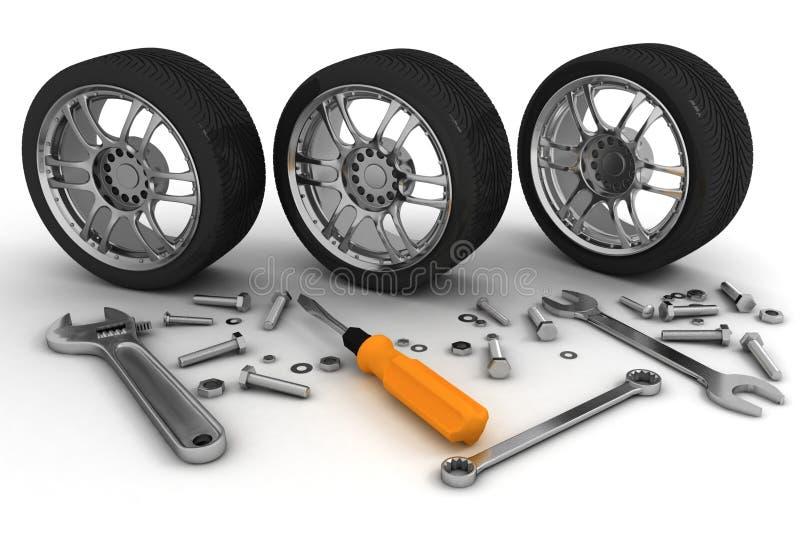 Wheel and Tools stock illustration