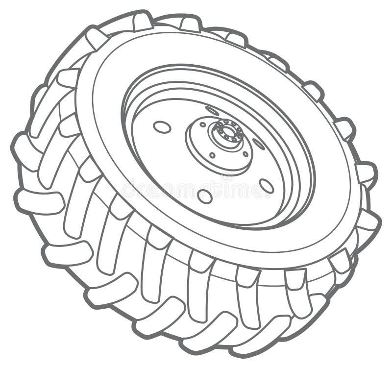 Wheel tractor outline stock illustration