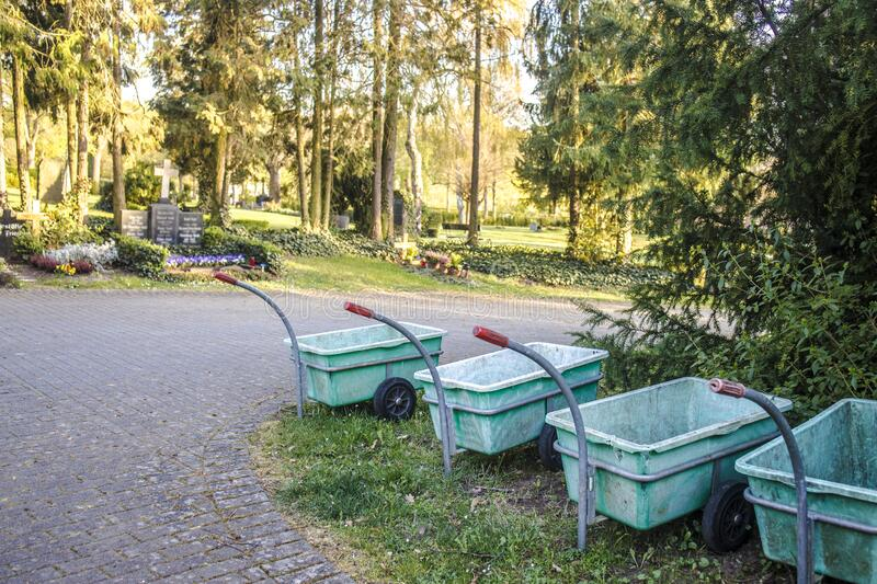 Wheel Trolleys on a cemetery stock photography