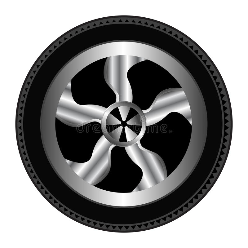 Wheel And Tyre. Car wheel and tyre illustration design. An additional Vector .Eps file available. (you can use elements separately stock illustration