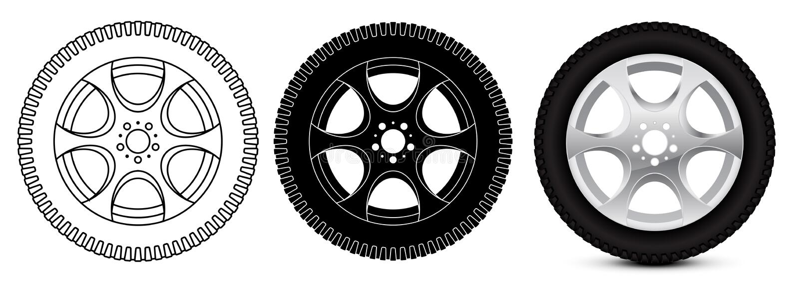 Wheel with tyre. Vector illustration isolated on white background vector illustration
