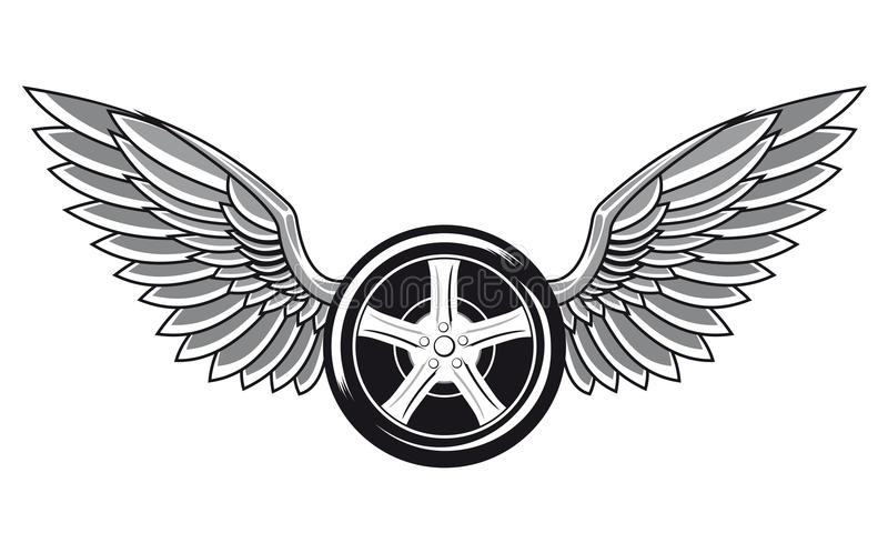 Wheel tyre with wings. For tattoo and racing design stock illustration