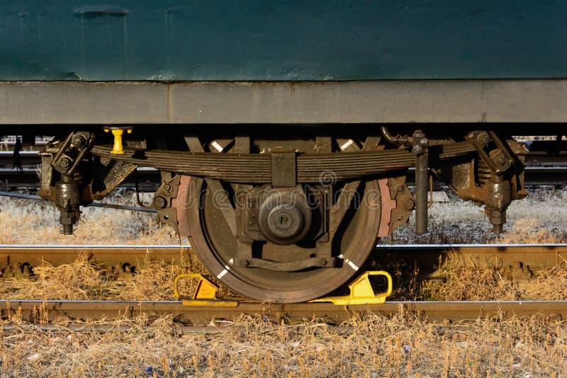 Wheel from a wagon. Old railway wagon, old forgotten train stock photo