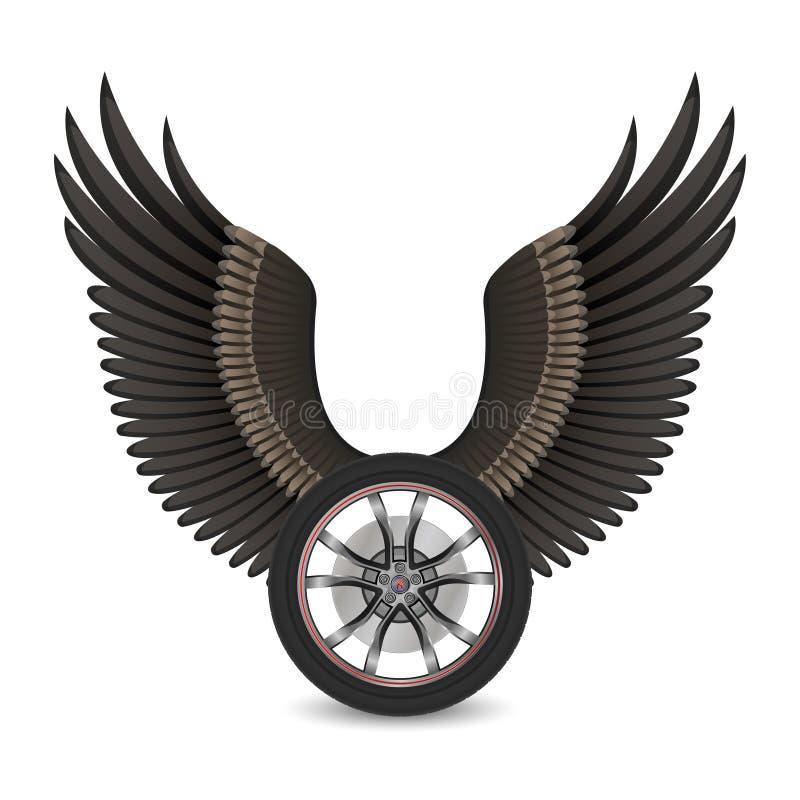 Monochrome Smoke Logo Set: Vintage Winged Motorcycle Wheel Concept Stock Vector