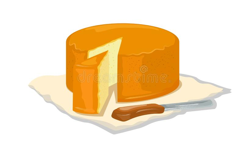 Wheel of yellow creamy semi soft cheese and cutted wedge of it with knife on napkin. Natural milk farm healthy products vector illustration