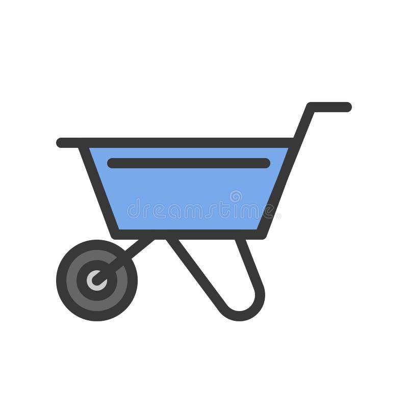 Wheelbarrow, γεμισμένο εικονίδιο περιλήψεων, handyman εργαλείο και σύνολο εξοπλισμού απεικόνιση αποθεμάτων