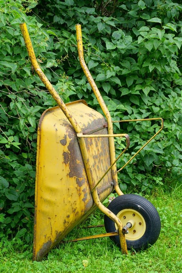Wheelbarrow ενάντια στον πράσινο θάμνο στοκ εικόνα