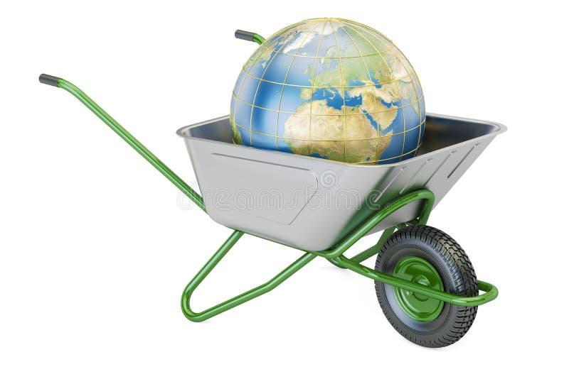 Wheelbarrow κήπων με το χώμα ή το λίπασμα, τρισδιάστατη απόδοση ελεύθερη απεικόνιση δικαιώματος