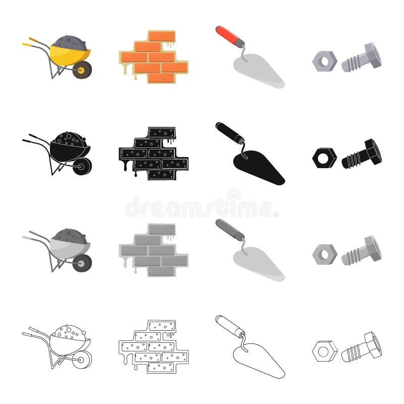 Wheelbarrow κατασκευής, πλινθοδομή, trowel, μπουλόνι με το καρύδι Εικονίδια κατασκευής και καθορισμένα συλλογής επισκευής στα κιν απεικόνιση αποθεμάτων