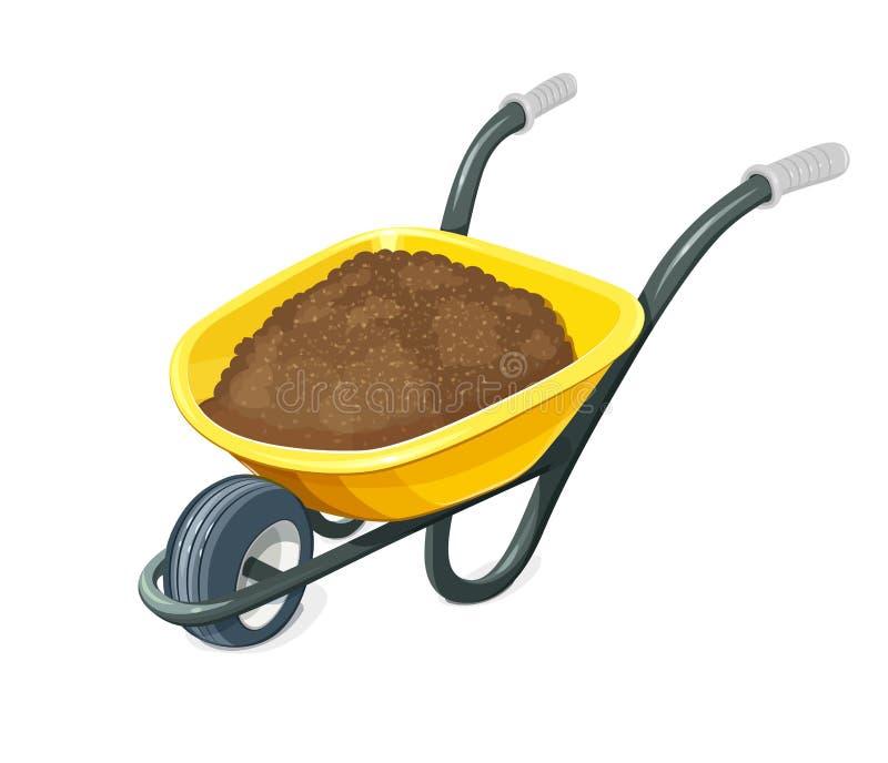 Wheelbarrow με το έδαφος εργαλεία κηπουρικής απεικόνιση αποθεμάτων