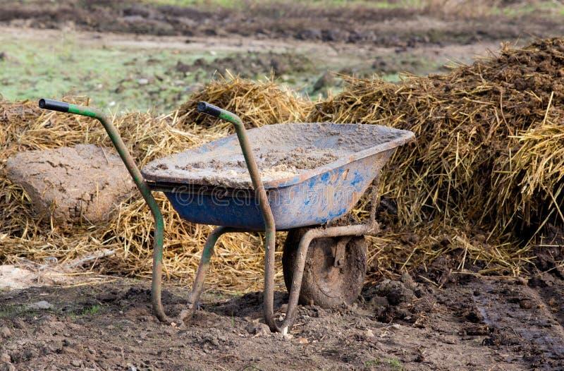 Wheelbarrow with cattle manure stock photos
