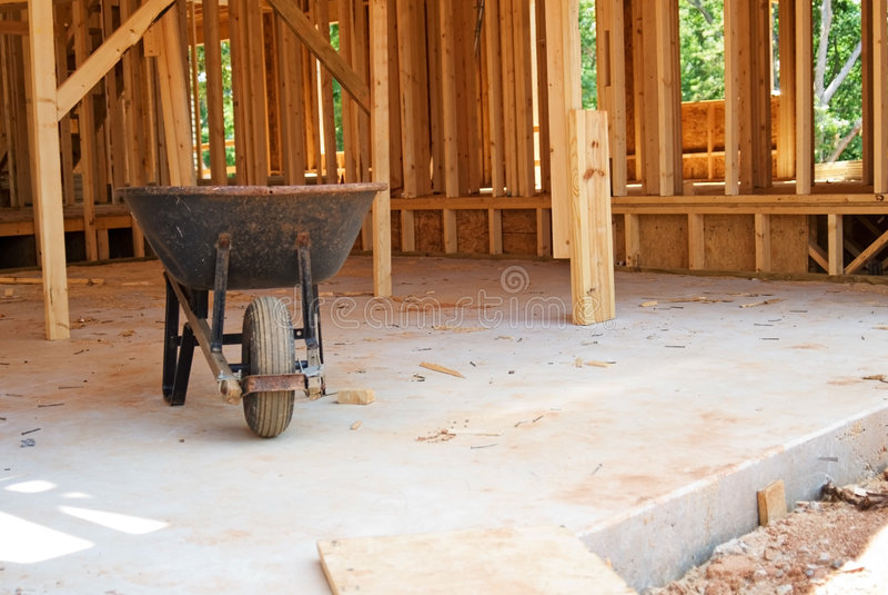 Wheelbarrow /Construction Site stock image