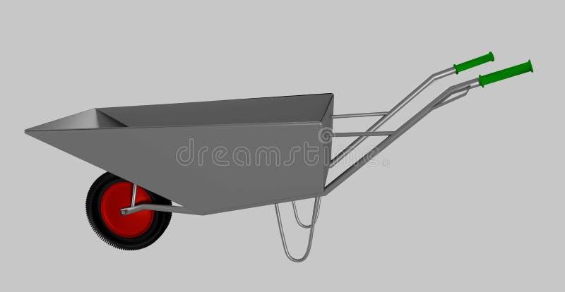 Wheelbarrow dla budowy, stal obrazy stock