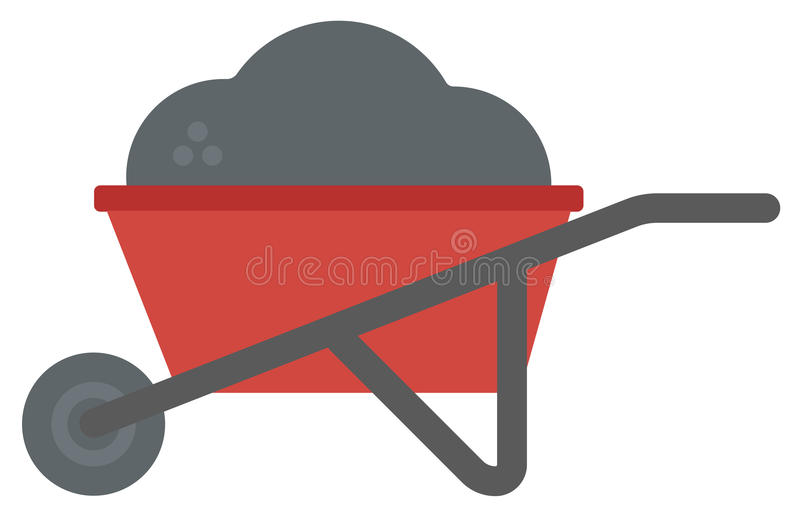Wheelbarrow full of sand. Wheelbarrow full of sand vector flat design illustration isolated on white background stock illustration