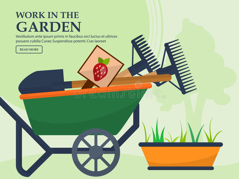 Wheelbarrow with garden tools and a long pot plants on a light background with a place for your advertising. Vector. Illustration royalty free illustration