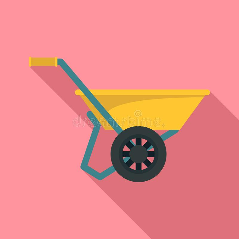 Wheelbarrow icon, flat style royalty free illustration