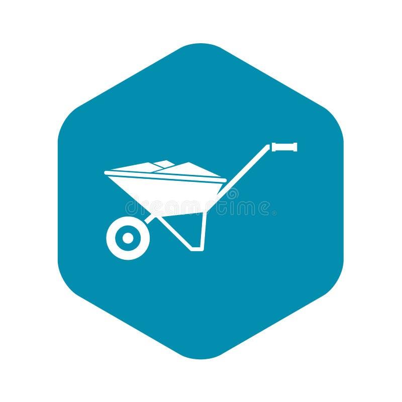 Wheelbarrow icon, simple style royalty free illustration