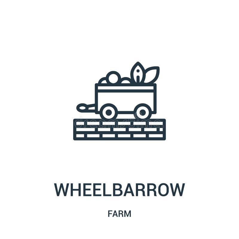 wheelbarrow ikony wektor od rolnej kolekcji Cienka kreskowa wheelbarrow konturu ikony wektoru ilustracja Liniowy symbol dla używa ilustracja wektor